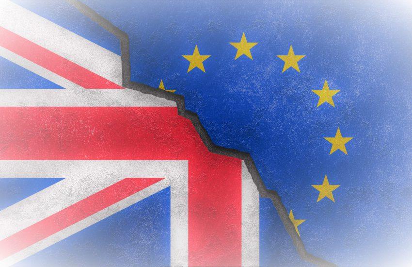Gecombineerde vlag van Goot Brittannië en de Europese unie